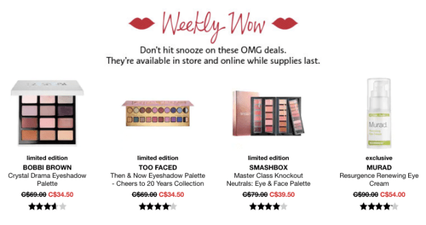 Sephora Canada Week of Wow Weekly Canadian Deals December 20 2018 - Glossense