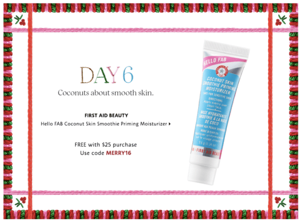 Sephora Canada Merry Mysteries 2018 Canadian Daily Free Item Freebie Freebies Promo Code Coupon Codes Christmas Holiday Beauty Insider BI VIB Rouge Bonus Offer Free Deluxe Sample Samples Mini Mini Day 6 FAB First Aid Beauty Coconut Primer - Glossense