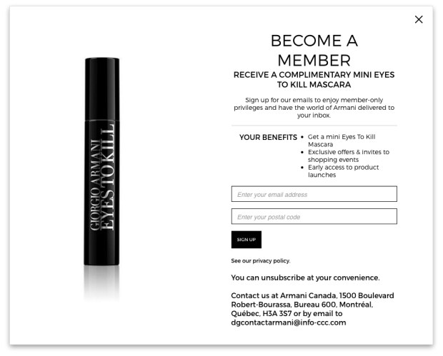 Giorgio Armani Beauty Canada Canadian Newsletter Sign-up Offer Promo Code Coupon Code Free Welcome Gift GWP Free Mascara - Glossense