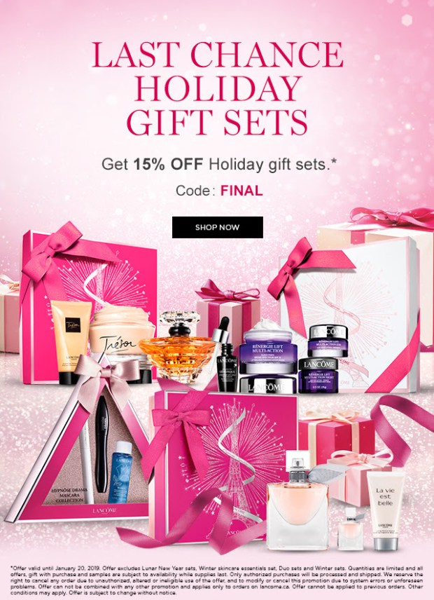 Lancome Canada Canadian Sale Promo Code Save on 2018 2019 Holiday Gift Sets - Glossense