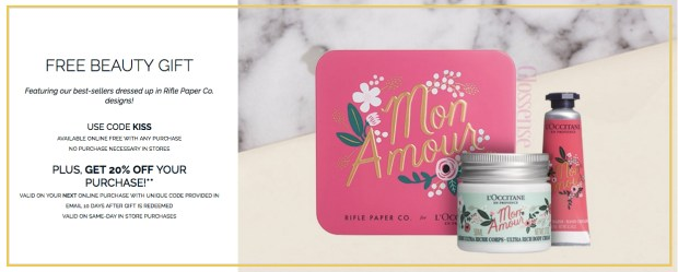 L'Occitane Canada Canadian Freebies Free Beauty Gift Valentines Day Valentine's 2019 Kiss Promo Code Coupon Code January February Offer GWP - Glossense