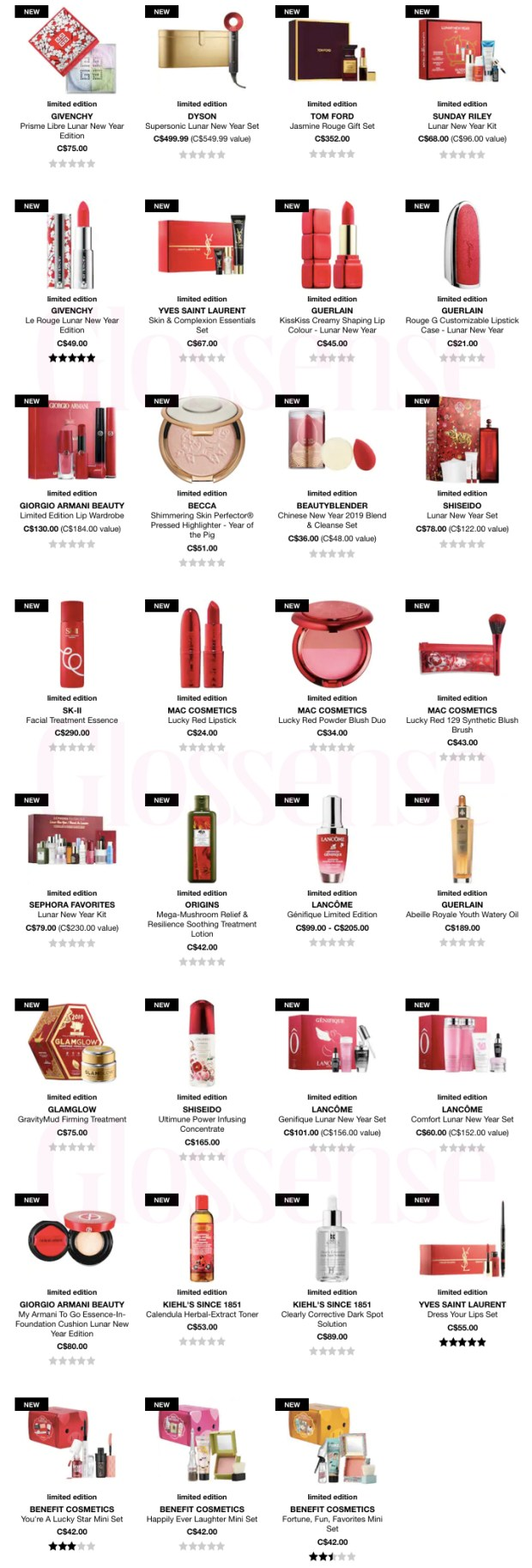 Sephora Canada 2019 Chinese New Year Lunar New Year Items Beauty Products Canadian Deals Celebration Year of the Pig Happiness Luck - Glossense