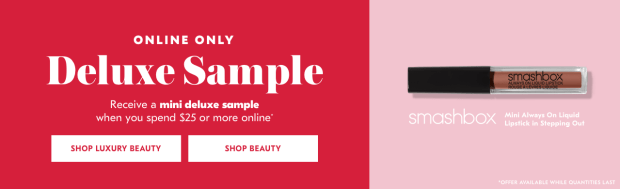 Shoppers Drug Mart SDM Beauty Boutique Canada 2019 Canadian Freebies Deals GWP Free Smashbox Cosmetics Always On Liquid Lipstick Mini Deluxe Sample - Glossense