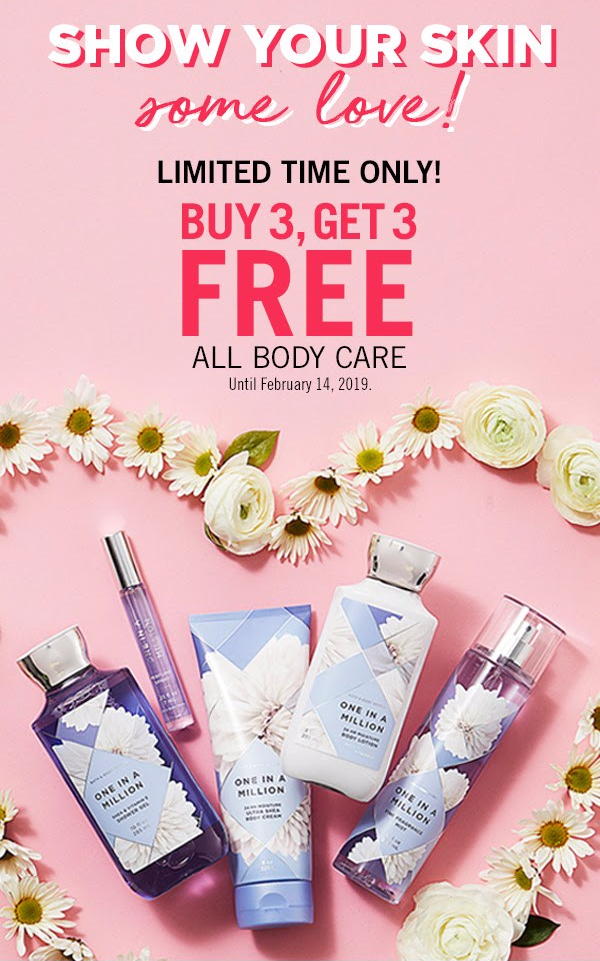 Bath and Body Works Canada 2019 Canadian Valentine's Day Promotion Sale BOGO B3G3F Buy 3 Body Care Get 3 Free - Glossense