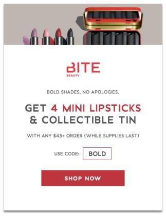 Bite Beauty Cosmetics Canada Canadian GWP Gift with Purchase Freebies Free Mini Trailblazer Lipsticks Lipstick Set Free Tin - Glossense