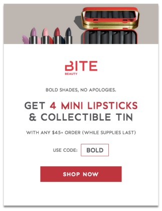Bite Beauty Cosmetics Canada Canadian GWP Gift with Purchase Freebies Free Mini Trailblazer Lipsticks Lipstick Set Free Tin - Glossense