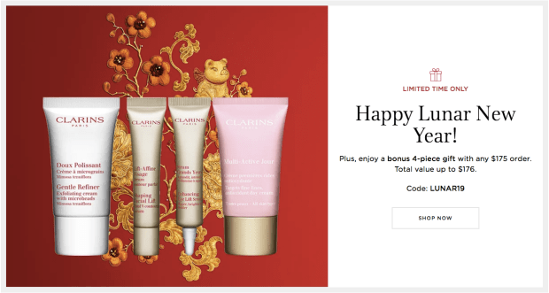 Clarins Canada Beauty 2019 Canadian GWP Chinese New Year Offer Free Lunar New Year Gift Set Promo Code Coupon Code - Glossense