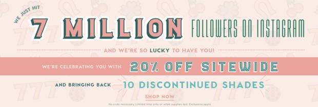 ColourPop Cosmetics Canada 7 Seven Million Instagram Followers Canadian Sale Promotion Discount Deal Promo February 2019 - Glossense
