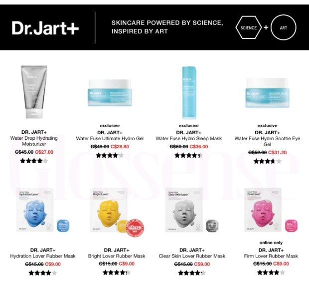 Sephora Canada HOT Canadian Deals Canadian Sale Save on Dr. Jart Skincare Skin Care Discount 60 Off - Glossense
