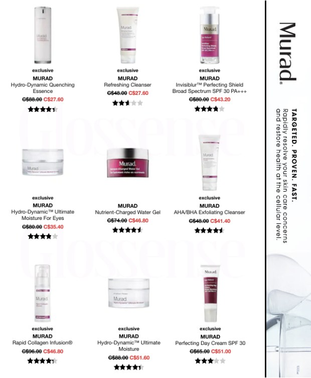 Sephora Canada HOT Canadian Deals Canadian Sale Save on Murad Skincare Skin Care Discount Up to 75 Off - Glossense
