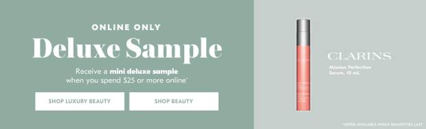 Shoppers Drug Mart SDM Beauty Boutique Canada 2019 Canadian Freebies Deals GWP Free Clarins Mission Perfection Serum Skincare Skin Care Mini Deluxe Sample - Glossense