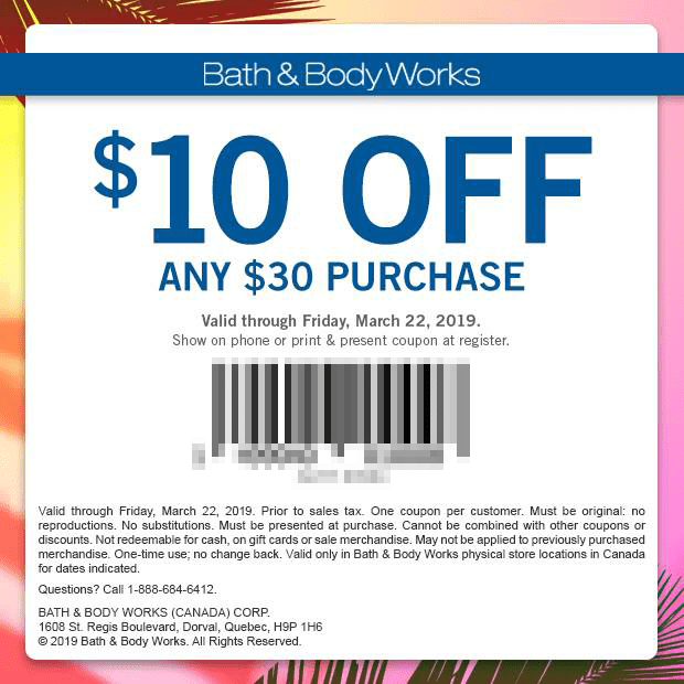 Bath Body Works Canada 10 Off 30 Purchase Mobile Printable Canadian Coupons Spring 2019