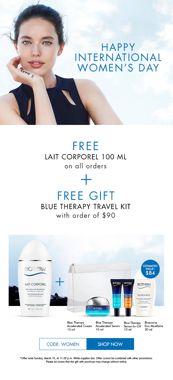 Biotherm Skincare Canada Canadian International Women's Day 2019 Deals Freebies GWP Free Gift Gifts with Purple Lait Corporel Blue Therapy Travel Kit Set Promo Code Offer - Glossense
