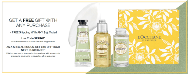 L'Occitane en Provence Canada Canadian Deals Free Spring 2019 Gift with Any Purchase GWP Promo Code Coupon Codes Offer Discount Savings March 2019 - Glossense