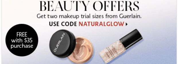 Sephora Canada Canadian Promo Codes Coupon Code Beauty Offer Two Free Guerlain Samples Deluxe Mini Trial size Travel Sample L'Essentiel Natural Glow Foundation Meteorites Base Primer Perfecting Pearls GWP - Glossense