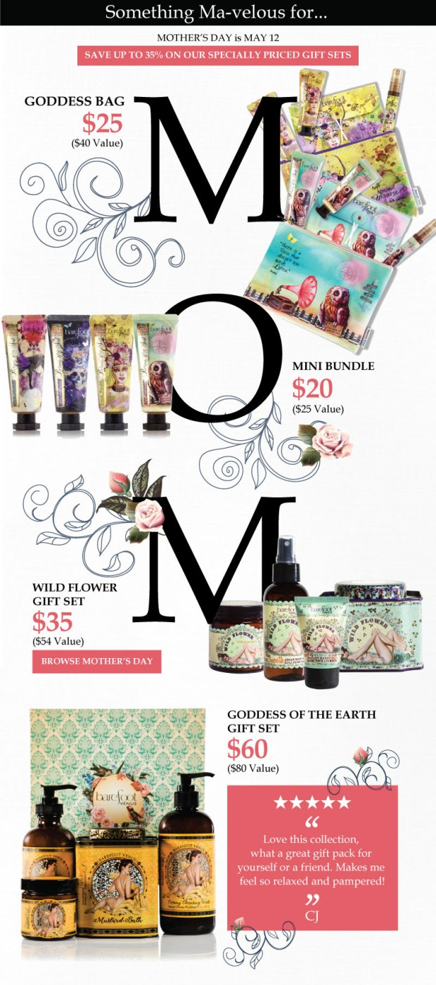 Barefoot Venus Canada Mother's Day 2019 Gift Set Ideas Mom Gifts Canadian Deals Sale Sets Bundles Promo Promotion - Glossense