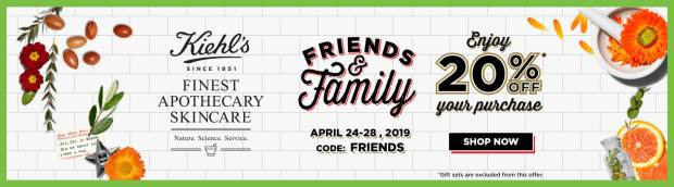 Kiehl's Canada Friends and Family Sale Event 20 Percent Off Canadian Deal Deals GWP Promo Code Coupon Codes Spring April 2019 - Glossense