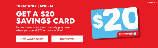 Shoppers Drug Mart Beauty Boutique SDM Canada Canadian In-store April 14 2019 $20 dollar Savings Card Offer - Glossense