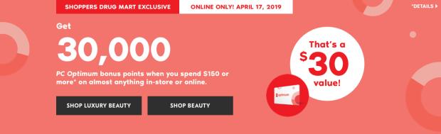 Shoppers Drug Mart Canada Beauty Boutique Canadian SDM Exclusive PC Optimum Loyalty Rewards Program PC Optimum Bonus Points Promotion Event Shop Luxury Beauty April 17 2019 - Glossense