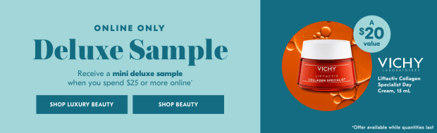 Shoppers Drug Mart SDM Beauty Boutique Canada 2019 Canadian Freebies Deals GWP Free Vichy Liftactiv Collagen Specialist Dry Cream Skincare Mini Deluxe Sample - Glossense