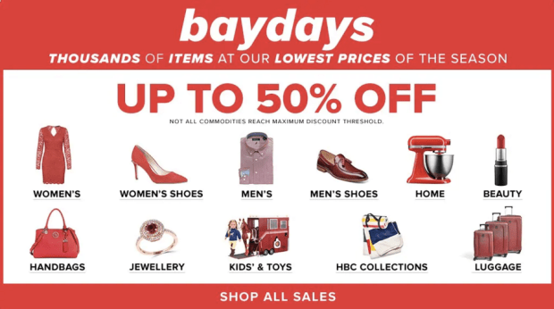 The Hudson's Bay Canada HBC The Bay Bay Days 2019 Canadian Deals Sale Deal Lowest Prices of the Season Up to 50 Percent Off Beauty Free Shipping Friday - Glossense