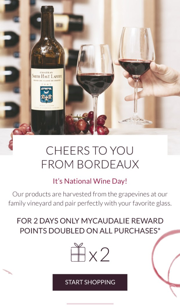 Caudalie Canada Double 2x the MyCaudalie Reward Points 2019 Canadian National Wine Day Promotion - Glossense
