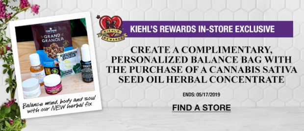 Kiehl's Since 1851 Canada Canadian GWP Freebies Create Your Own Free Balance Bag w/ Purchase of Cannabis Sativa Seed Oil Concentrate In-Store Exclusive - Glossense