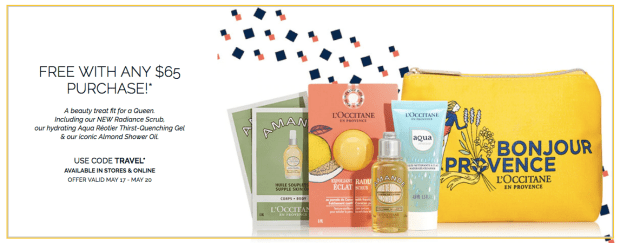 L'Occitane en Provence Canada Free Long Weekend Getaway Beauty Gift Set with Purchase 2019 Canadian Victoria Day May GWP Promo Coupon Code - Glossense