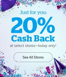 Rakuten Canada Canadian 20 Percent Cash Back Birthday Event Free Money 400 stores 20 Years May 2019 - Glossense