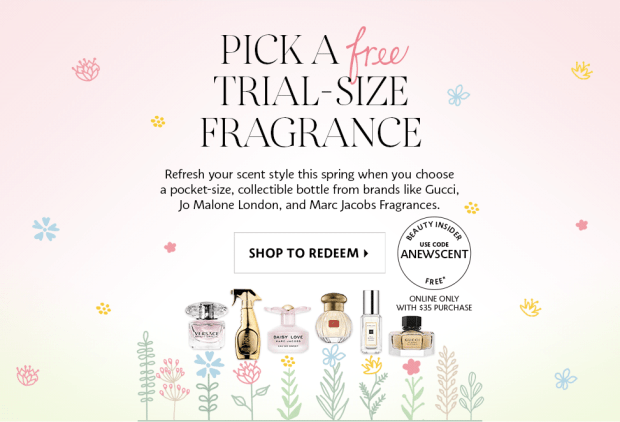 Sephora Canada Spring Promo Code Canadian Coupon Codes GWP Free Fragrance Deluxe Mini Gucci Jo Malone Marc Jacobs Versace Moschino Tocca Gift with Purchase Perfume EDP Cologne - Glossense