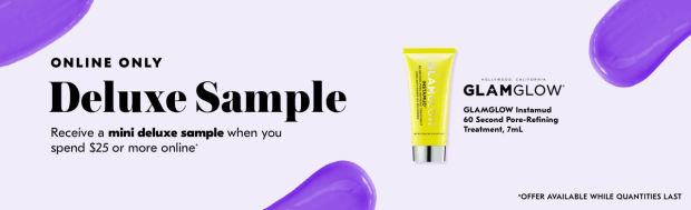 Shoppers Drug Mart SDM Beauty Boutique Canada 2019 Canadian Freebies Deals GWP Free GlamGlow Instamud Pore Refining Treatment Skincare Mini Deluxe Sample - Glossense