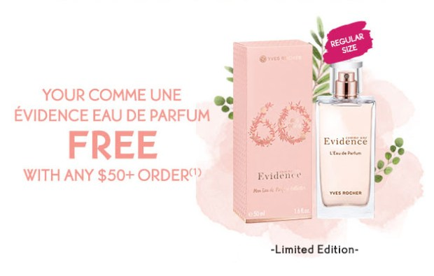 Yves Rocher Canada Free Evidence Eau de Parfum EDP Perfume Full size Gift with Purchase Canadian GWP Beauty Fragrance Offer - Glossense
