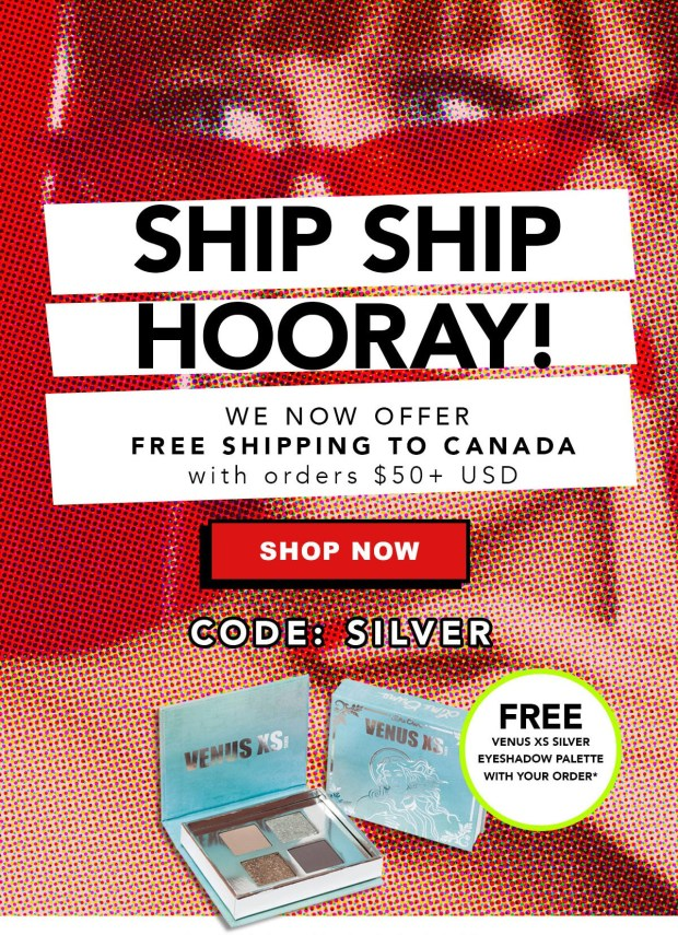 Lime Crime Canada FREE Shipping to Canada NOW Available 50 USD Orders Free Venus XS Silver Mini Eyeshadow Palette GWP Offer Canadian Deals Promo Code - Glossense