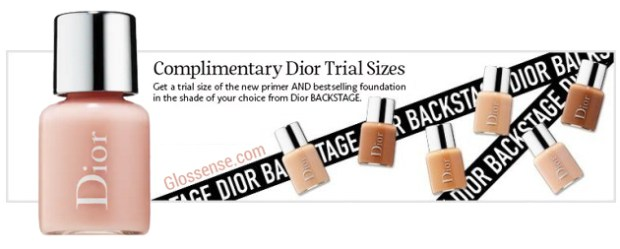 Sephora Canada Canadian Dior Samples Two Free Dior Backstage Minis Free Primer and Foundation Face and Body Foundation Promo Code Coupon Codes GWP - Glossense