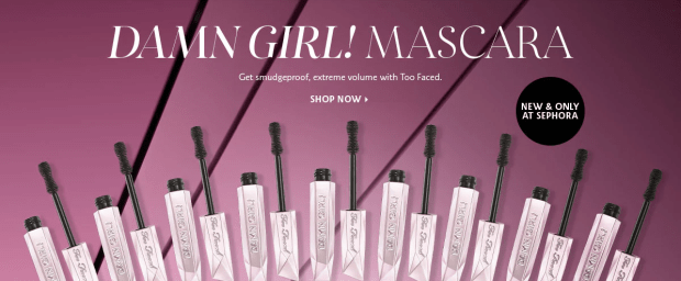 Sephora Canada Too Faced Damn Girl Mascara NEW Canadian Product Launch Makeup Beauty June 6 2019 - Glossense