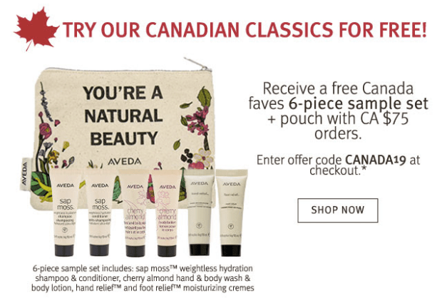 Aveda Canada Day Free 7-pc Canadian Classics Gift Set 6 Free Samples Pouch with Purchase Free Shipping 2019 Canadian Deals GWP Offer - Glossense