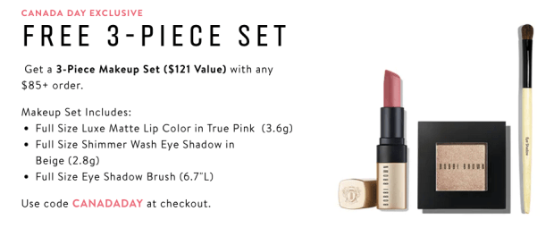 Bobbi Brown Canada Day 2019 Free GWP Makeup Set Gift with Purchase Promo Code Coupon Codes July 1 2019 - Glossense