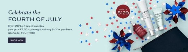 Elemis Canada 4th of July Event 20 Percent Off Select Favorites Free 4-pc Gift with Purchase 2019 Canadian Deals Sale GWP Offer Promo Code - Glossense