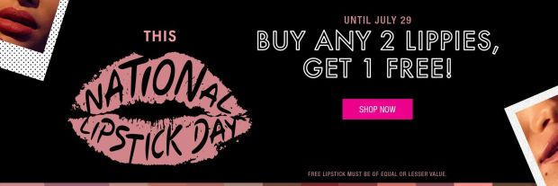 Nyx Cosmetics Canada National Lipstick Day July 2019 Canadian BOGO Deal Buy 2 Lipsticks Lippies, Get One Free - Glossense