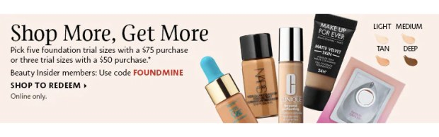 Sephora Canada Canadian Promo Code Coupon Codes FOUNDMINE Pick Choose 3 to 5 Mini Deluxe Trial Travel Foundation Foundations Samples Minis Beauty Offer GWP Summer Deal July 2019 - Glossense