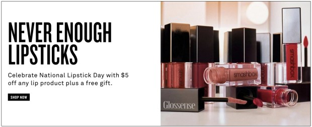 Smashbox Cosmetics Canada National Lipstick Day Canadian Sale Discount Coupons Codes Promo Code Free Gifts GWP July 2019 - Glossense