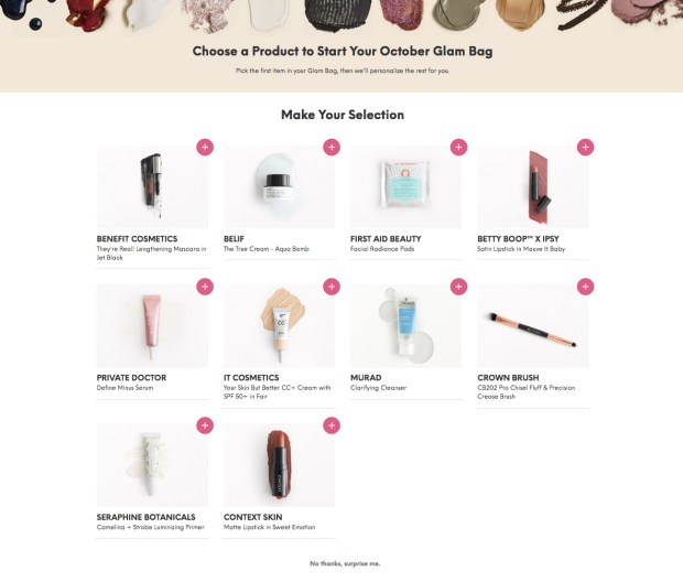 Ipsy Glam Bag Canada Beauty Subscription Bag Canadian Sub Makeup Skincare Hair Perfume Choose First October 2019 Product Add Item Glam Bag Betty Boop Theme - Glossense
