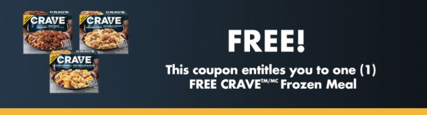 WEBSAVER CANADIAN FREEBIES Free Kraft Canada CRAVE Frozen Meal 2019 National Video Games Day Coupon - Glossense
