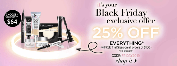 IT Cosmetics 2019 Black Friday Sale 25% Off 4 Free Gifts 2019 Canadian Deals Promo Code GWP Offer - Glossense