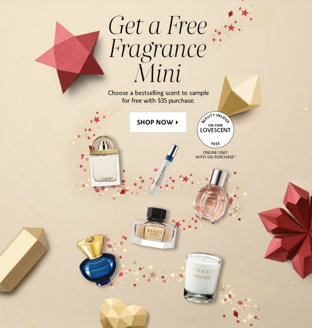 Sephora Canada Holiday 2019 Promo Code Canadian Coupon Codes GWP Free Fragrance Deluxe Mini Chloe Tocca Candle Versace Atelier Viktor Rolf Gift with Purchase Perfume EDP Cologne - Glossense