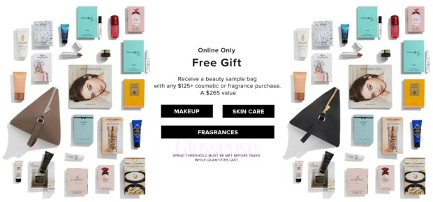 Hudson's Bay Canada The Bay HBC Beauty Week December 2019 Canadian Deals Beauty Gift with Purchase GWP Bonus Offer Samples Makeup Bag - Glossense