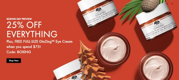 Origins Canada 2019 Boxing Day Sale 25 30 Off Free Full-size GinZing Eye Cream with Purchase Canadian Deals Promo Code GWP Offer - Glossense