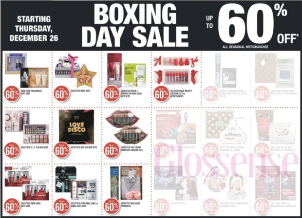 Shoppers Drug Mart Canada 2019 Boxing Day Sale Canadian Weekly Flyer Deals Up to 60 Off Beauty 1 Day of Savings - Glossense