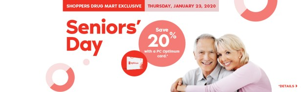 Shoppers Drug Mart Canada SDM Beauty Boutique Seniors Bonus Day January 23 2020 PC Optimum Card Bonus Save Canadian Sale Earn PC Optimum Points - Glossense