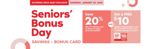 Shoppers Drug Mart Canada SDM Beauty Boutique Seniors Bonus Day January 30 2020 PC Optimum Card Bonus Save Canadian Sale Earn PC Optimum Points - Glossense